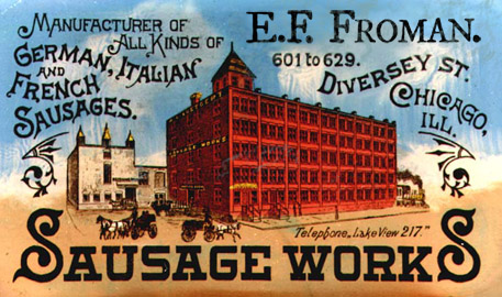 Old business card image of Froman Sausage Works